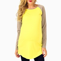 Neon-Yellow-Taupe-Baseball-Maternity-Top
