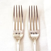 Custom Hand Stamped Vintage MR and MRS forks by Goozeberryhill