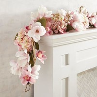 Faux Luxe Pink Magnolia 6' Garland