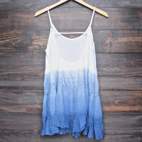 dip dye tiered open back baby doll dress - ombre blue