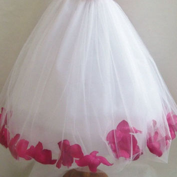 Rose Petal Dress WHITE Flower Girl Wedding Summer Christmas Easter Recital Pageant Bridesmaid Communion Church Toddler Baby Cheap