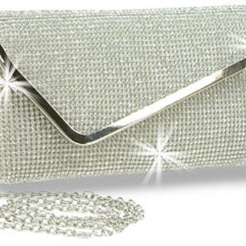 * Rhinestone Covered Evening Envelope Clutch In Silver