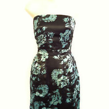 NWT Banana Republic Black Green Floral Satin Strapless Pocket Cocktail Dress