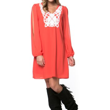 Orange/White Long Sleeve Crochet Dress