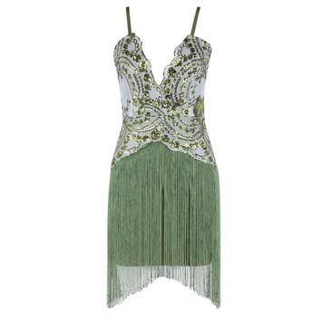 Winter Luxury Sexy Sequins Tassel Deep V Mini Bandage Dress Spaghetti Strap Celebrity Evening Party Dresses
