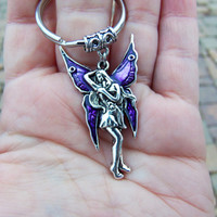 Fairy keychain beautiful nymph key chain sprite keychain fantasy keychain charm keyring key ring stocking stuffer fairy with purple wings