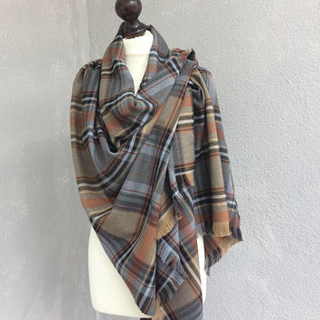 Plaid Blanket Scarf Outlanders Inspired Tartan Shawl Oversize Wool Long Stole Flannel Boho Men Wrap Woman Gift Shawl Checkered Scarf