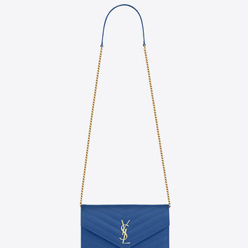 Saint Laurent MONOGRAM SAINT LAURENT Envelope CHAIN WALLET IN Royal Blue GRAIN DE POUDRE TEXTURED MATELASSÉ LEATHER | ysl.com