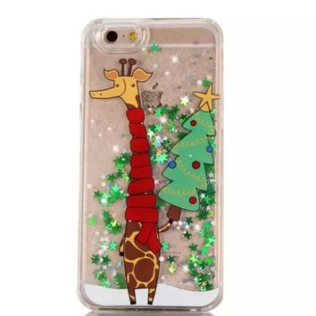 Creative Cute Christmas Giraffe Iphone 7 7plus & 6 6s plus&5s se Cover Case