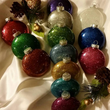 Set of 12 Glitter Christmas Ornaments - Give Your Tree That Extra Sparkle