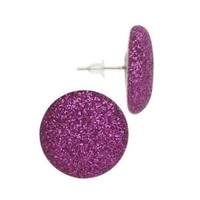 Fuchsia Pink Mod Retro 80s Sparkly Disco Fabric Button Earrings