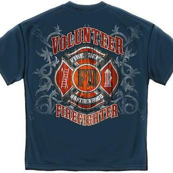 FIRE DEPARTMENT FADED PLANKS- BLUE- T-SHIRT