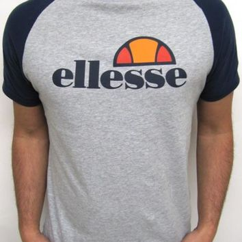 Ellesse Cassina T-shirt in Grey/Navy,round neck tee