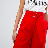 ASOS Clean Culotte with Oversized D Ring Detail Belt at asos.com