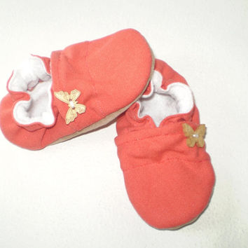 coral girl baby shoes soft soled baby shoes infant gifts girl booties toddler new baby shower handmade slippers booties for child