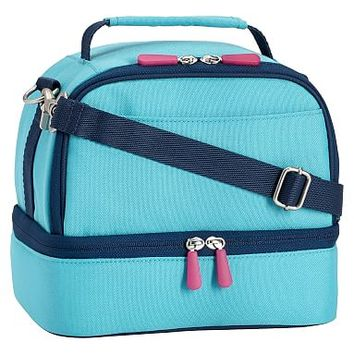 Gear-Up Bright Blue Colorblock Dual Compartment Lunch Bag