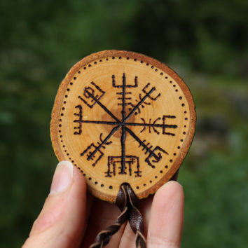 Vegvisir viking necklace • Viking jewelry • Wooden necklace • Pagan jewelry • Custom necklace