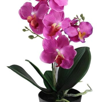 "20"" Potted Pink Phalaenopsis Orchid Artificial Silk Flower Arrangement"