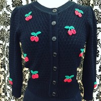 Pin Up Sweater in Black with Cherry Embroidery