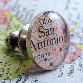 Map Tie Tack or Lapel Pin - Round