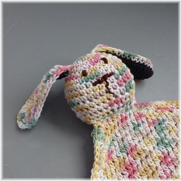 Cotton Lovey Security Blanket Bunny Crocheted