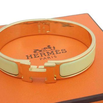 *SALE from $450 to $405* HERMES Clic Clac Bangle Light Yellow/Gold - e34068
