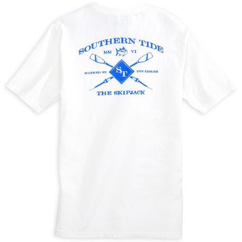 Crossed Oars Pocket Tee Shirt in Classic White by Southern Tide