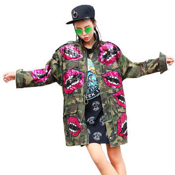Sherhure Lips Sequins Beading Spring Jacket Women Army Green Camouflage Women Bomber Jacket Casaco Feminino Women Basic Coats