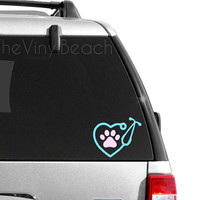 Vet Tech Decal - Heart Stethoscope With Paw Decal