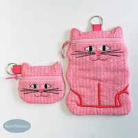 Cat Coin Purse, Earbud Pouch or Cell Phone, Zipper Case, Pink