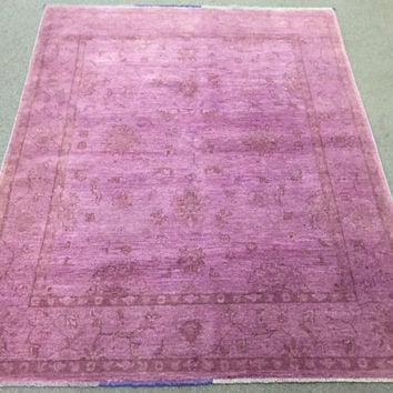 Size-6.4x5 ft Ziegler overdyed afghan rug, hand knotted rug, pink rug