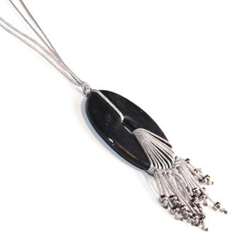 RESERVED!!! Ceramic necklace - Black and silver, adjustable, classic and elegant