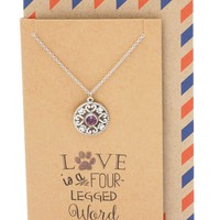 Caitlyn Hearts and Paws Pendant Necklace for Women with Greeting Card, Silver Tone
