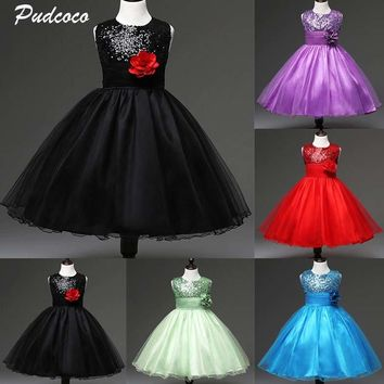 Flower Girls Dress 2019 New Toddler Kids Sequins Lace Bowknot Back Tulle Wedding Bridesmaid Pageant Party Formal Dresses 2-8T
