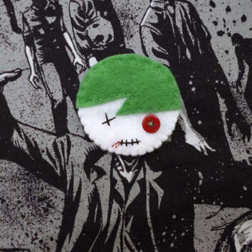 Zombie Felt Pin, Felt Undead Brooch Pinback, Zombie Badge Stitched, Creepy Cute Accessory, Kawaii Zombie