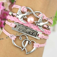 Believe the bracelet, infinity bracelet, bird bracelet, pearl, double heart bracelet, ancient silver charm, girlfriend and BFF