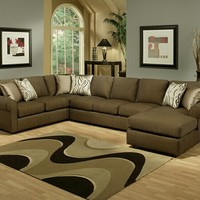 3 pc Marino Quartz fabric upholstered sectional sofa with rounded arms and chaise lounge