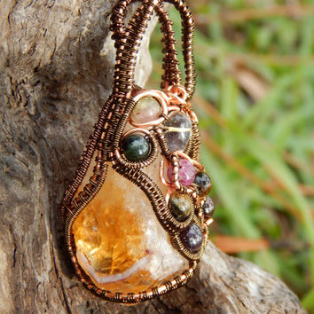 Wire wrapped citrine pendant, heady wrap pendant with citrine crystal, unique pendant, gemstone pendant, wire wrap pendant, wrapped citrine