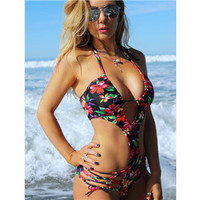 Women's Floral Strappy Monokini One Piece Swimsuit