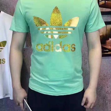 """Adidas""Tree Fashion round neck leisure loose T-shirt Green"