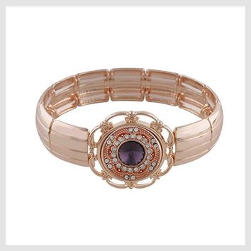 "Rose Gold Stretch Bracelet 20mm 3/4"" Snap"