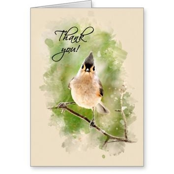 Titmouse Bird Thank You Card