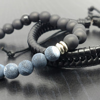 Men's Bracelet Set- Stone Beaded bracelet with matching leather band-14