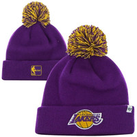 47 Brand Los Angeles Lakers Hardwood Classics Pom Pom Cuffed Knit Hat - Purple