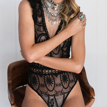 Black Plunge Frill Strap Sheer Lace Bodysuit