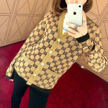 gucci women retro fashion classic logo gg letter wool knit sweater v neck long sleeve cardigan coat