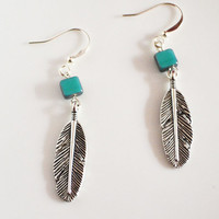 Native Inspired Earrings. Tribal Feather Jewelry. Small Detailed Feather.Blue Tile Bead. Feather Jewelry Native American