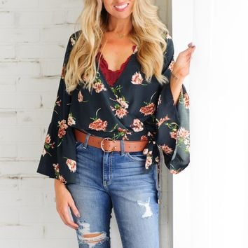* Autumn Fields V Neck Blouse With Bell Sleeve