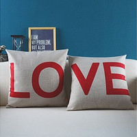 2 Sets Cotton fabric Decorative Couple Throw Pillow Cover-love (Color: Red)