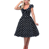 Stop Staring! Black & White Polka Dot Pleated Bodice Jitterbug Swing Dress